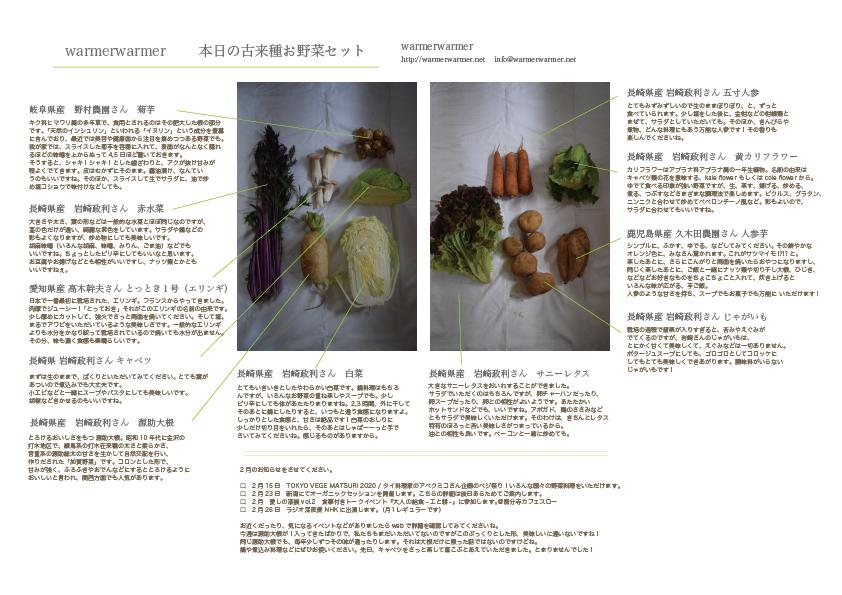 1月24日 お野菜セットの内容です。