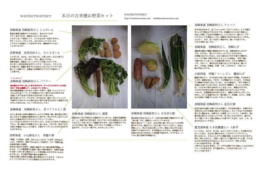 3月13日のお野菜セットの内容です