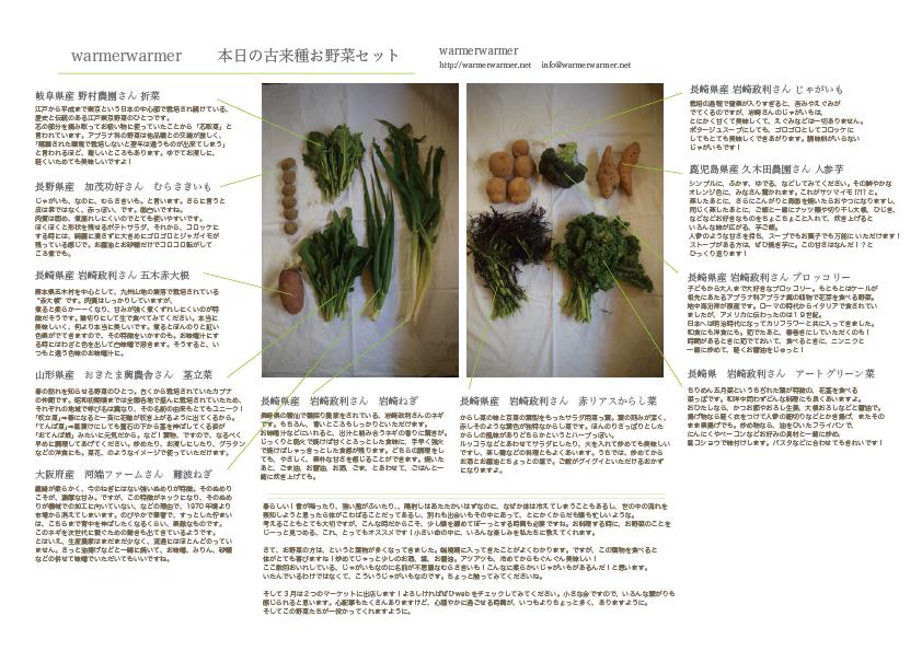 3月20日 お野菜セットの内容です