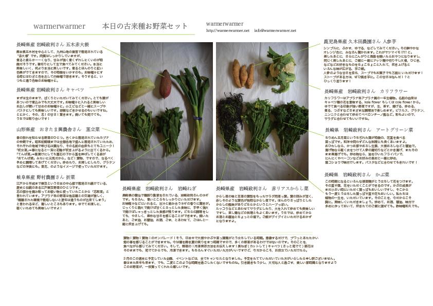 3月27日 お野菜セットの内容です
