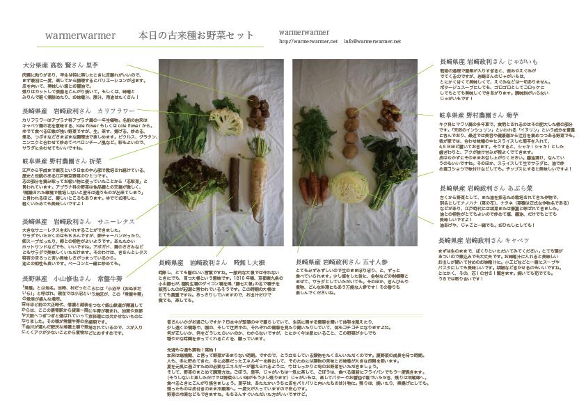 4月10日 本日のお野菜セットの内容です。