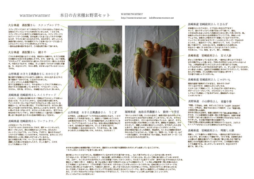 5月22日 本日のお野菜セットの内容です。