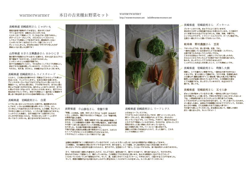 6月5日 本日のお野菜セットの内容です