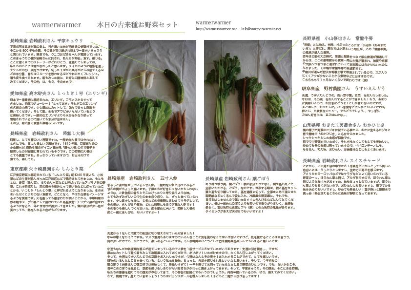 6月12日 本日のお野菜セットの内容です。