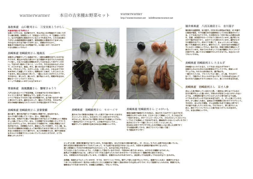 7月24日 本日のお野菜セットの内容です。