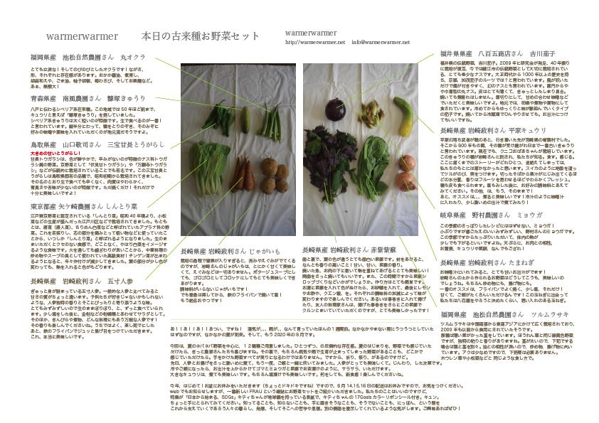 8月7日 本日のお野菜セットの内容です。