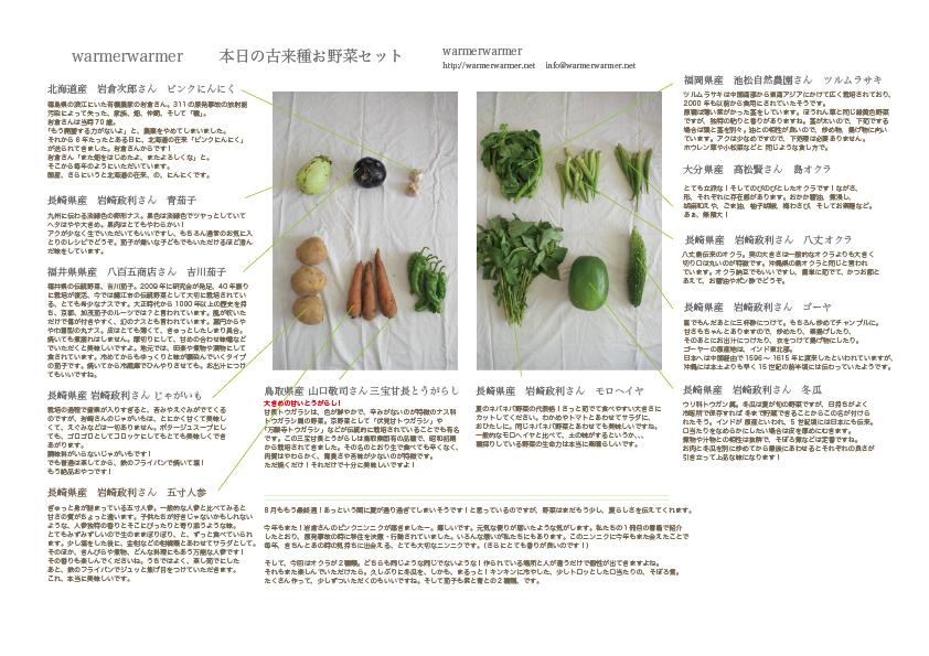 8月28日 本日のお野菜セットの内容です。