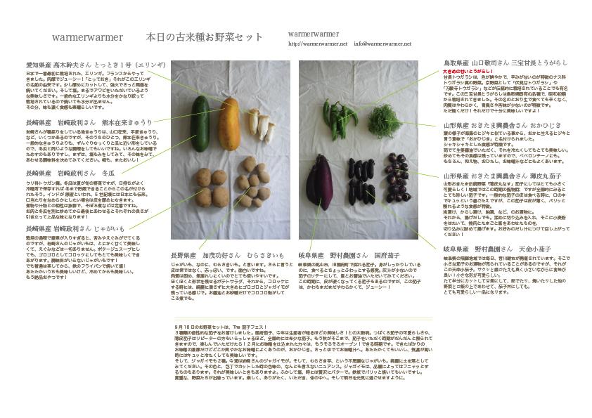 9月18日 本日のお野菜セットの内容です。