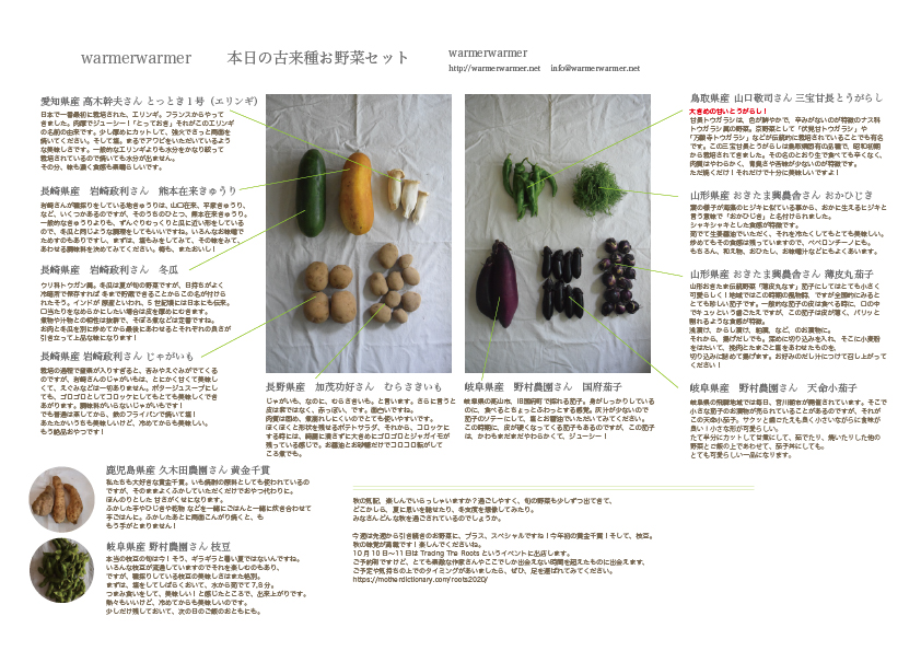 9月25日 本日のお野菜セットの内容です。