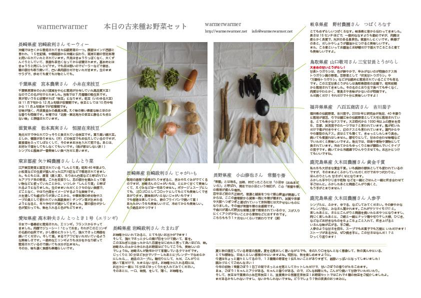 10月16日 本日のお野菜セットの内容です。