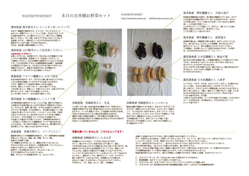 10月9日 本日のお野菜セットの内容です