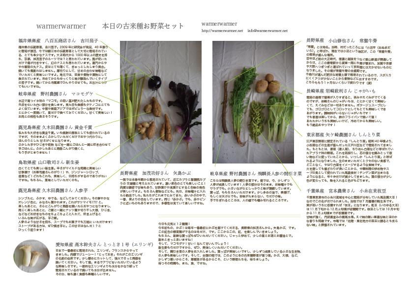 10月23日 本日のお野菜セットの内容です。
