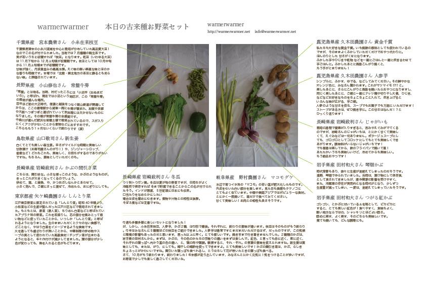10月30日 本日のお野菜セットの内容です。