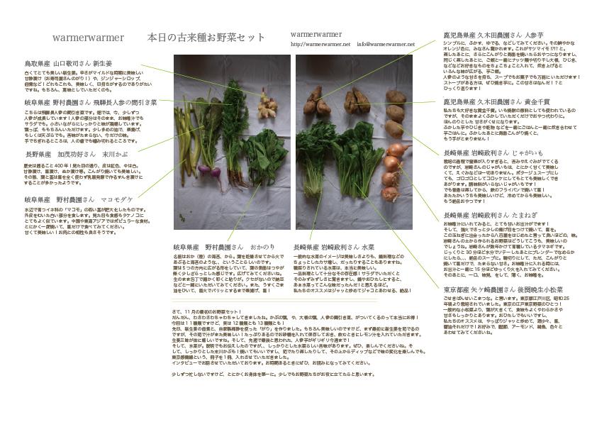 11月6日 本日のお野菜セットの内容です。