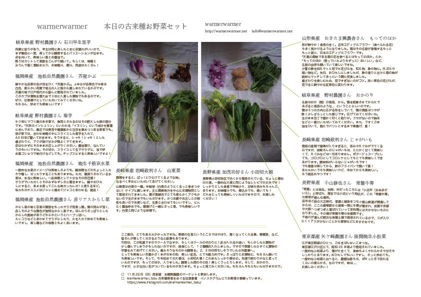 11月20日 本日のお野菜セットの内容です。