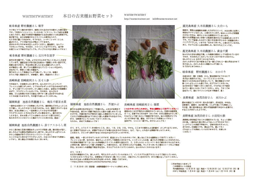 11月27日 本日のお野菜セットの内容です。