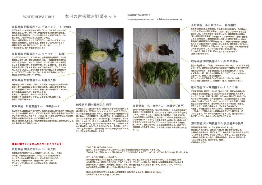 1月8日 本日のお野菜セットの内容です。