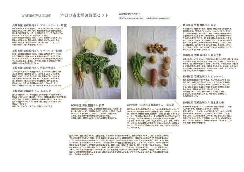 3月26日 本日のお野菜セットの内容です。
