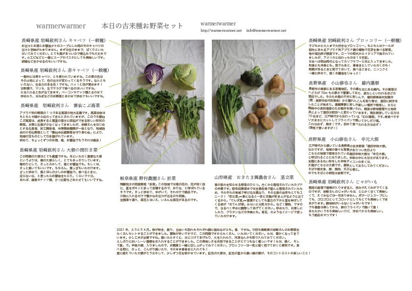 4月2日 本日のお野菜セットの内容です。