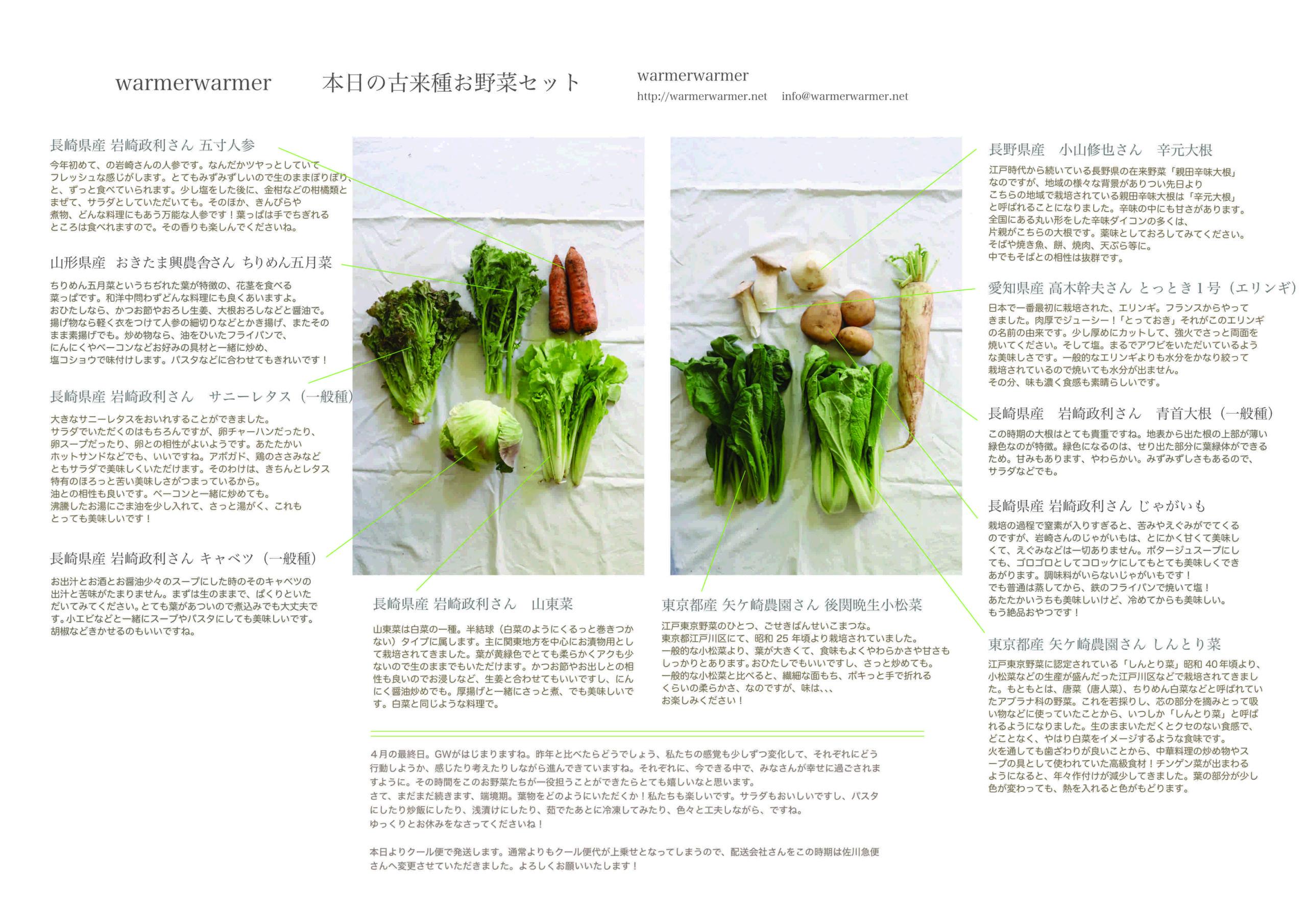 4月30日 お野菜セットの内容です。