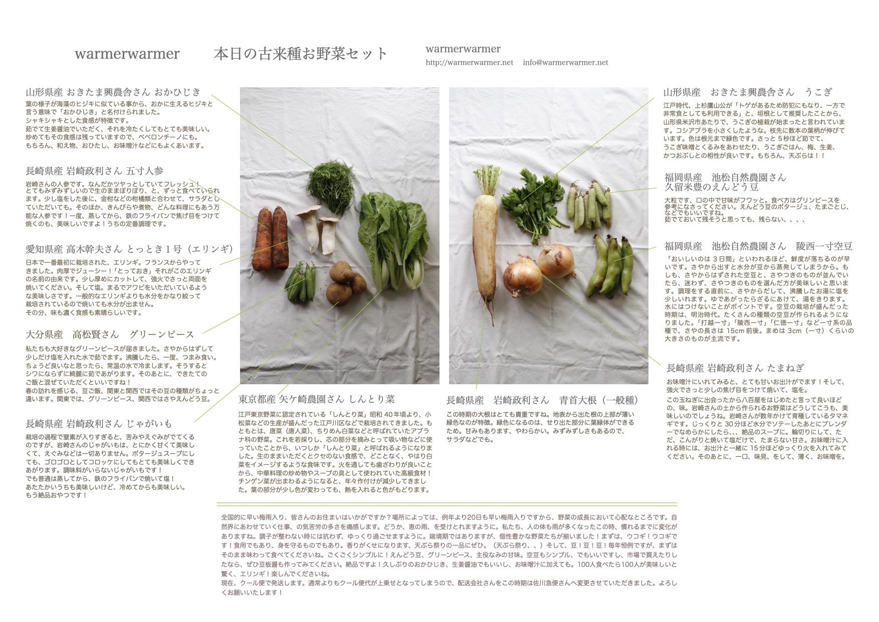 5月21日 お野菜セットの内容です。