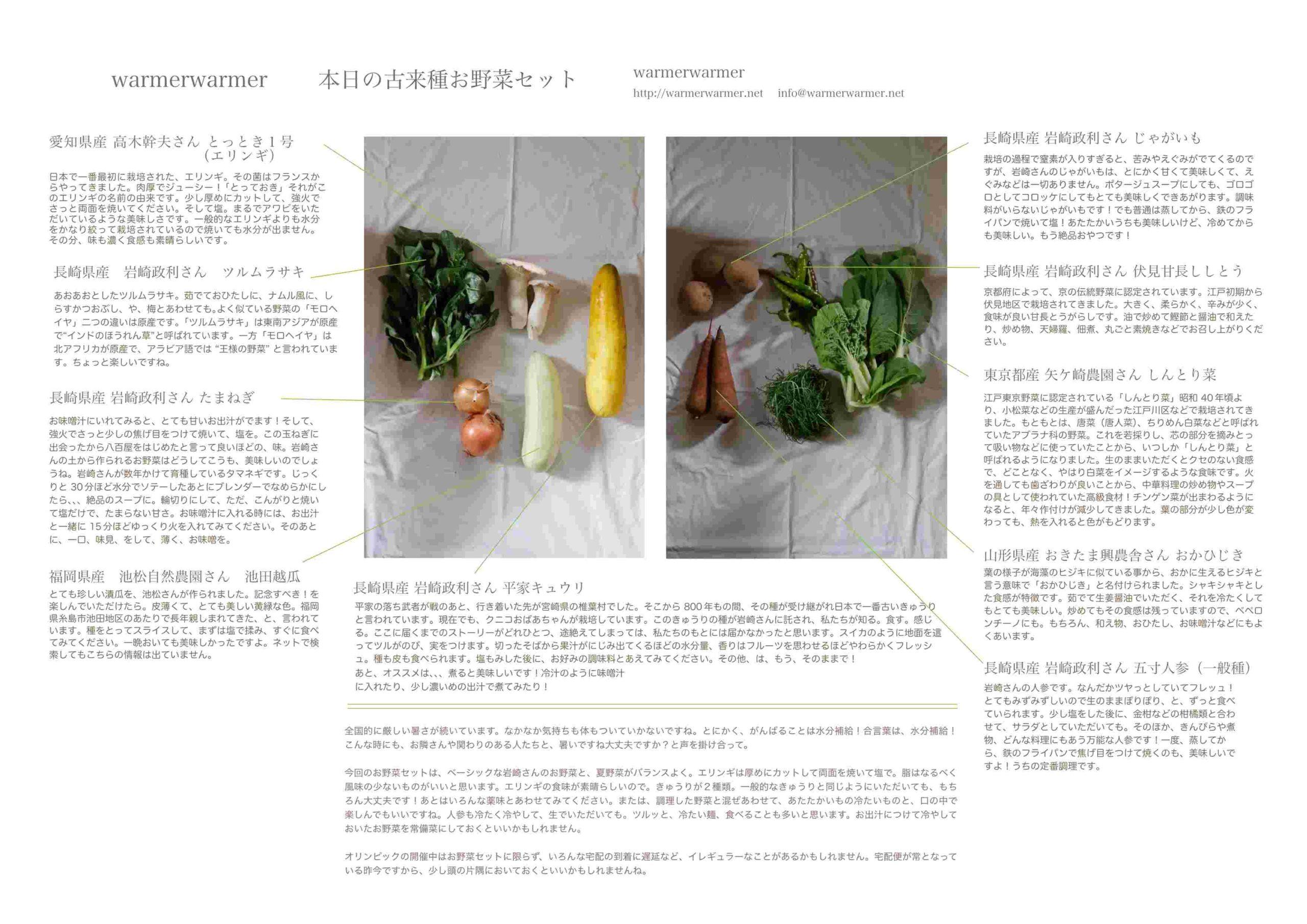 7月31日 お野菜セットの内容です。