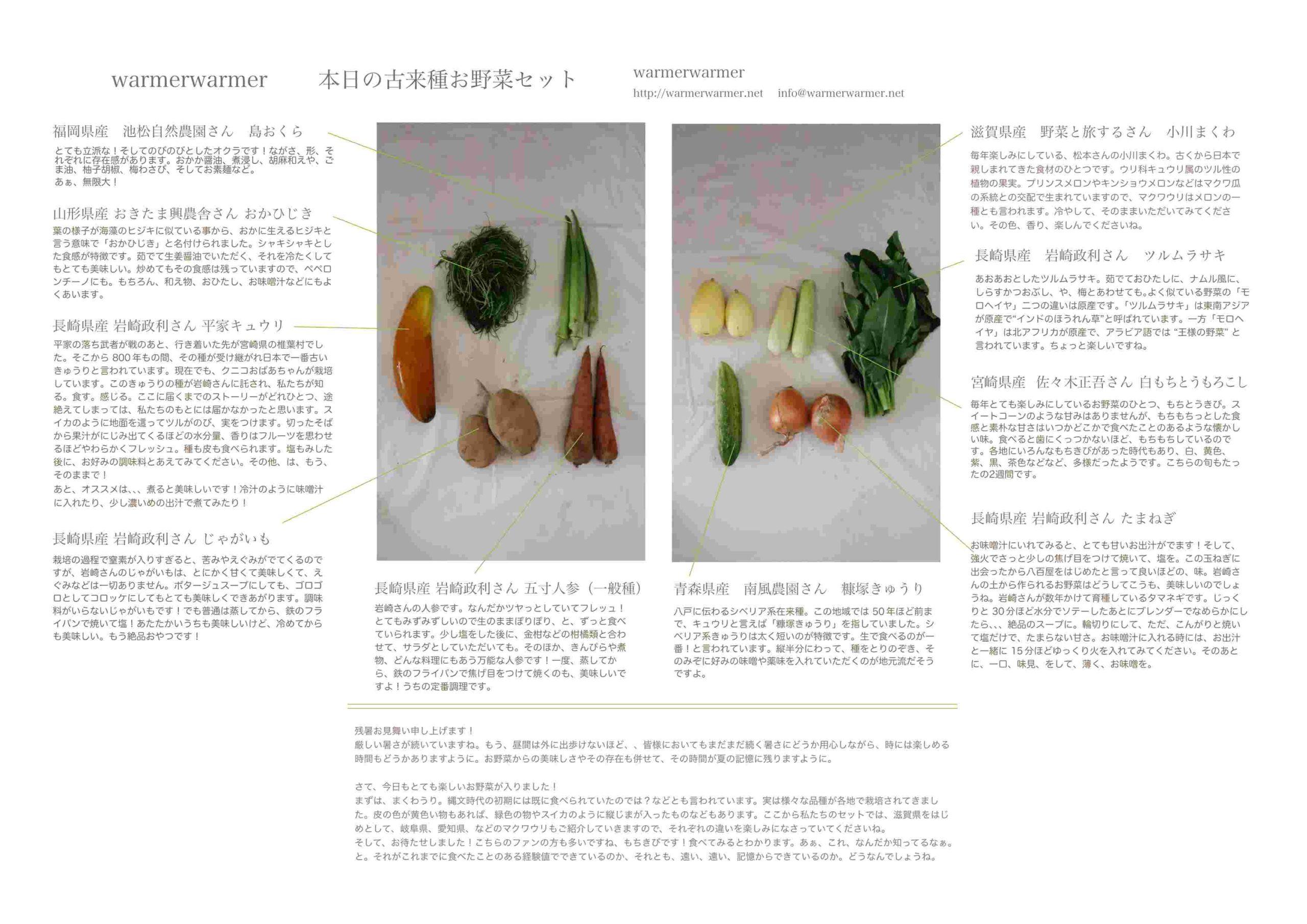 8月6日 本日のお野菜セットの内容です。