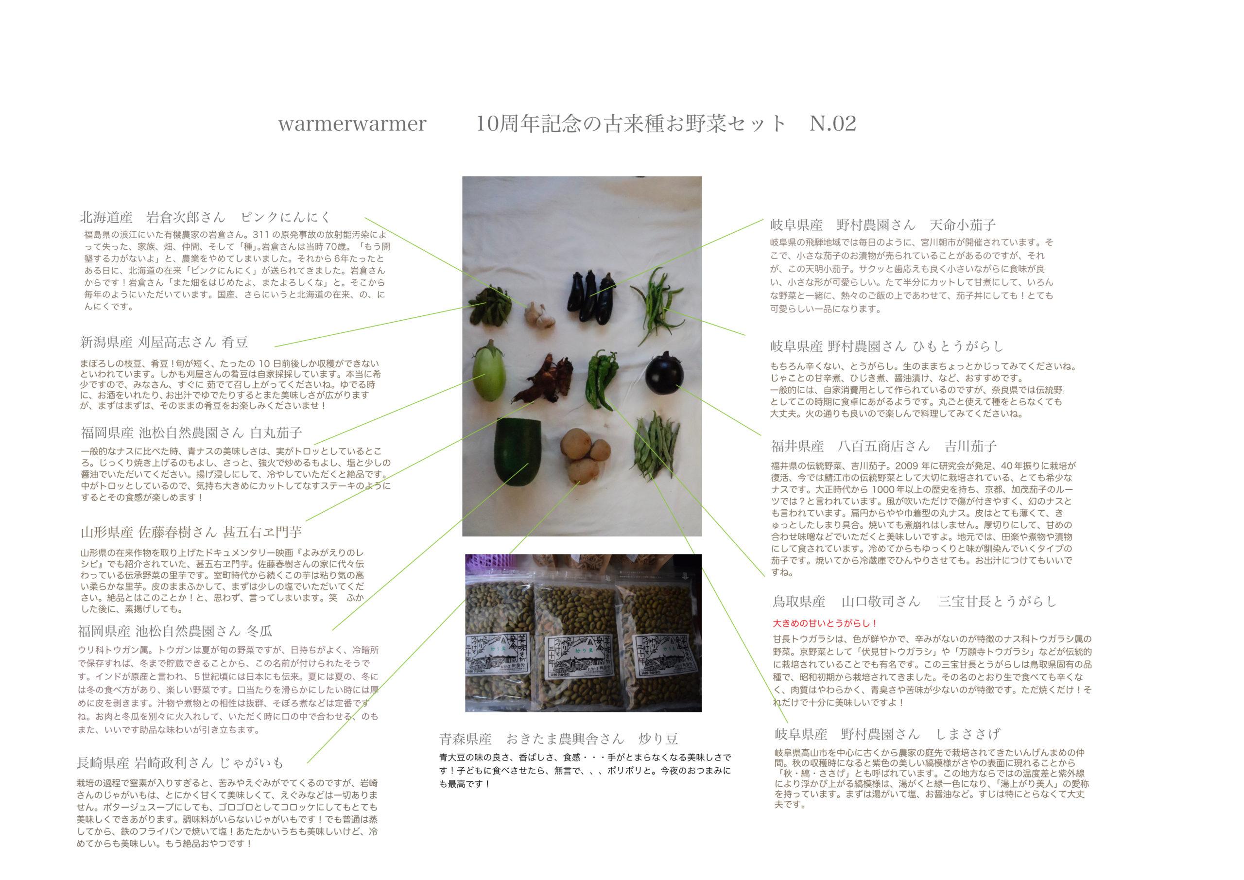 10周年記念 古来種野菜セット 9月24日発送分