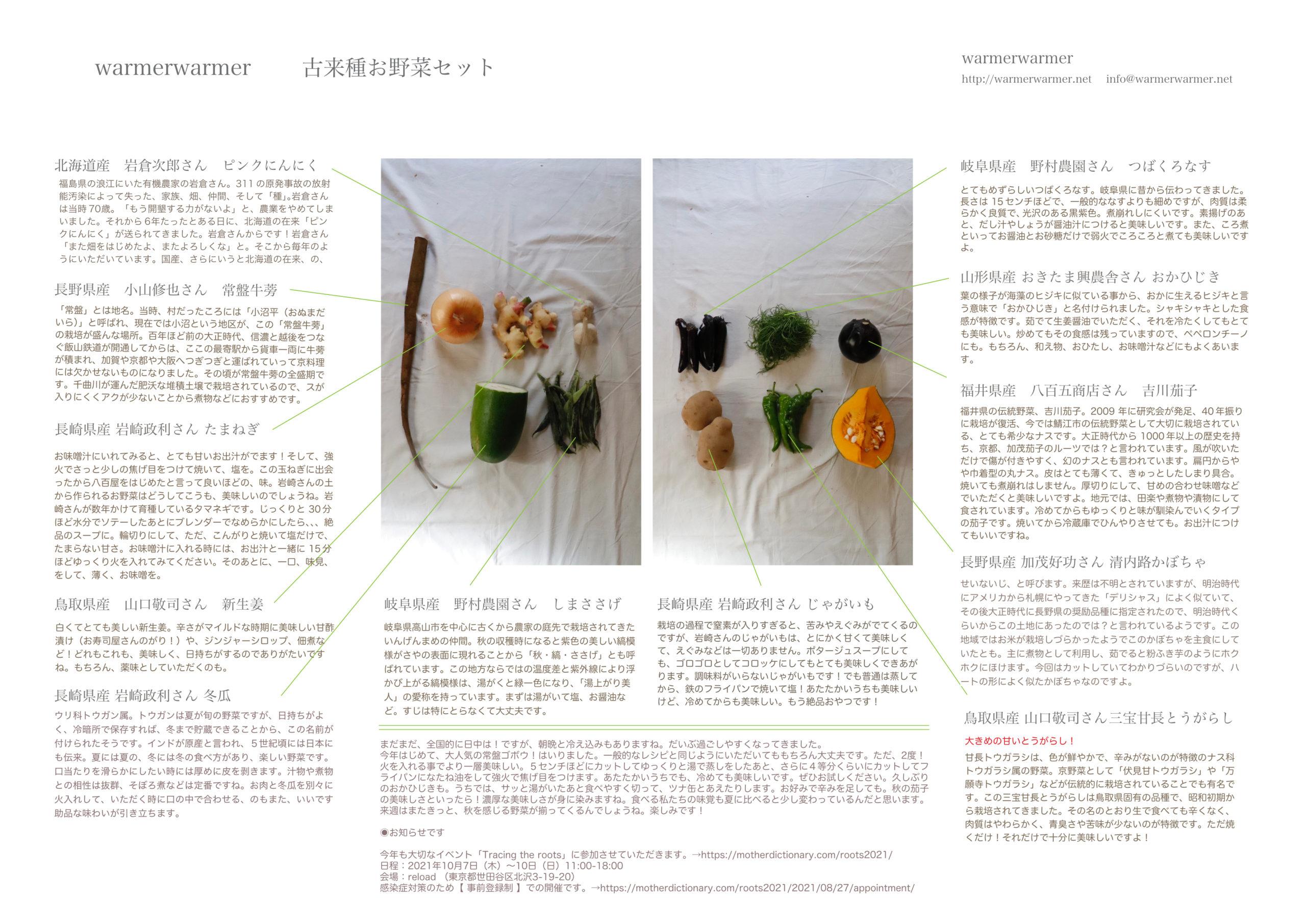 10月8日 お野菜セットの内容です。