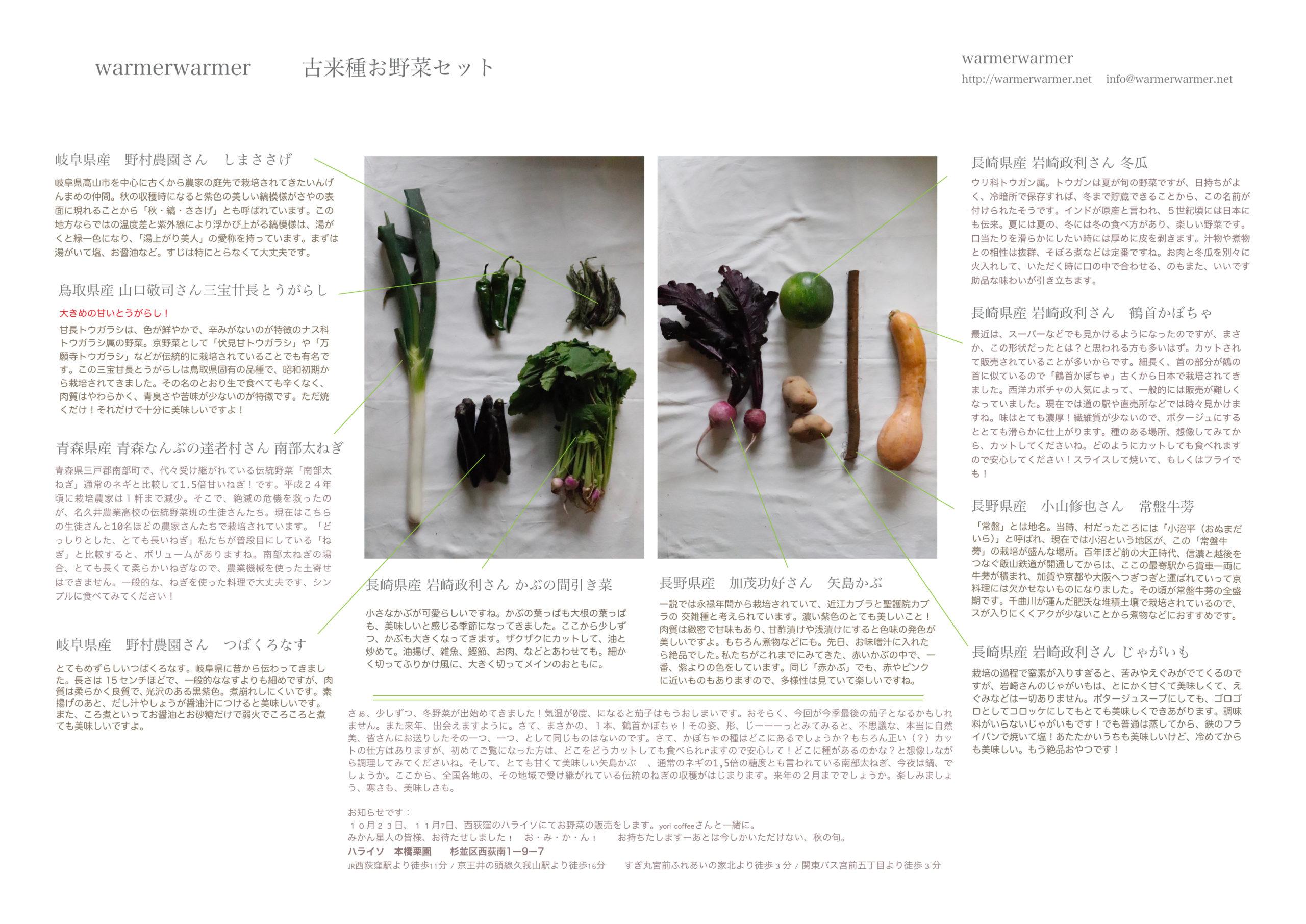 10月22日 お野菜セットの内容です。